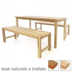 Tavolo e panche da esterno e giardino in legno di teak