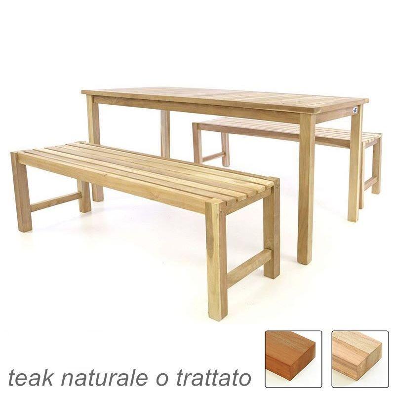 Tavolo Di Legno Per Esterno.Tavolo E Due Panche Da Esterno E Giardino In Legno Di Teak