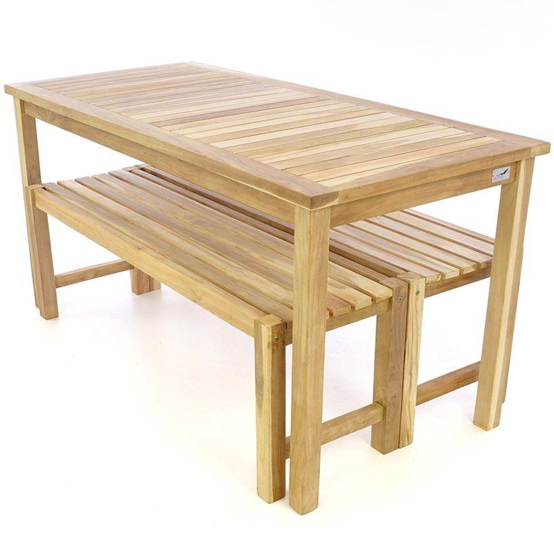 Tavolo e due panche da esterno e giardino in legno di teak