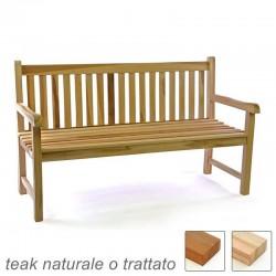 Panca da esterno e giardino in legno di teak a 3 posti