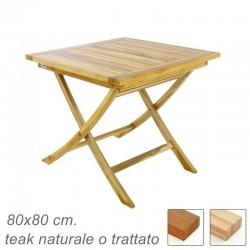Tavolo in legno di teak da giardino quadrato pieghevole