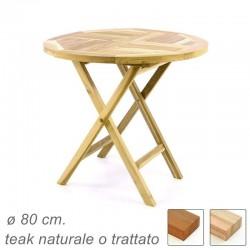 Tavolo in legno di teak da giardino rotondo pieghevole