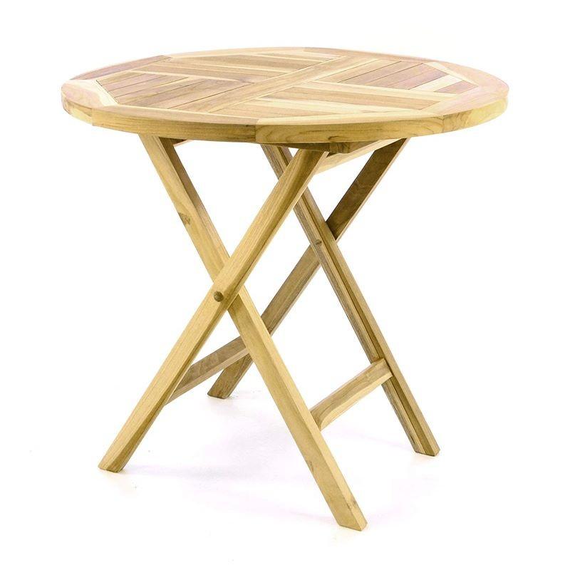 Tavolo da giardino in legno di teak rotondo pieghevole for Tavolo in legno pieghevole