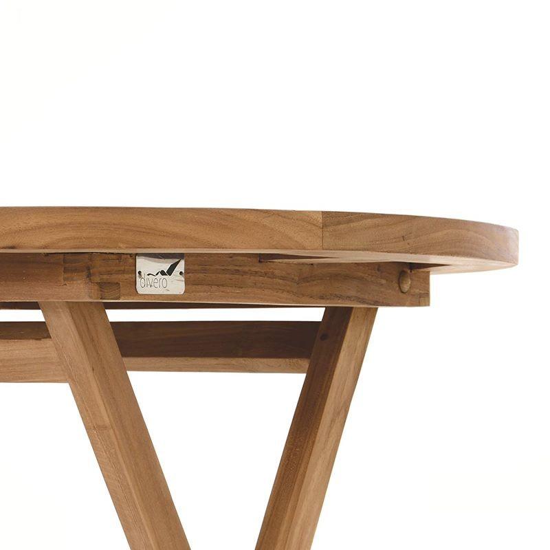 Tavolo da giardino in legno di teak rotondo pieghevole for Tavolo di legno pieghevole
