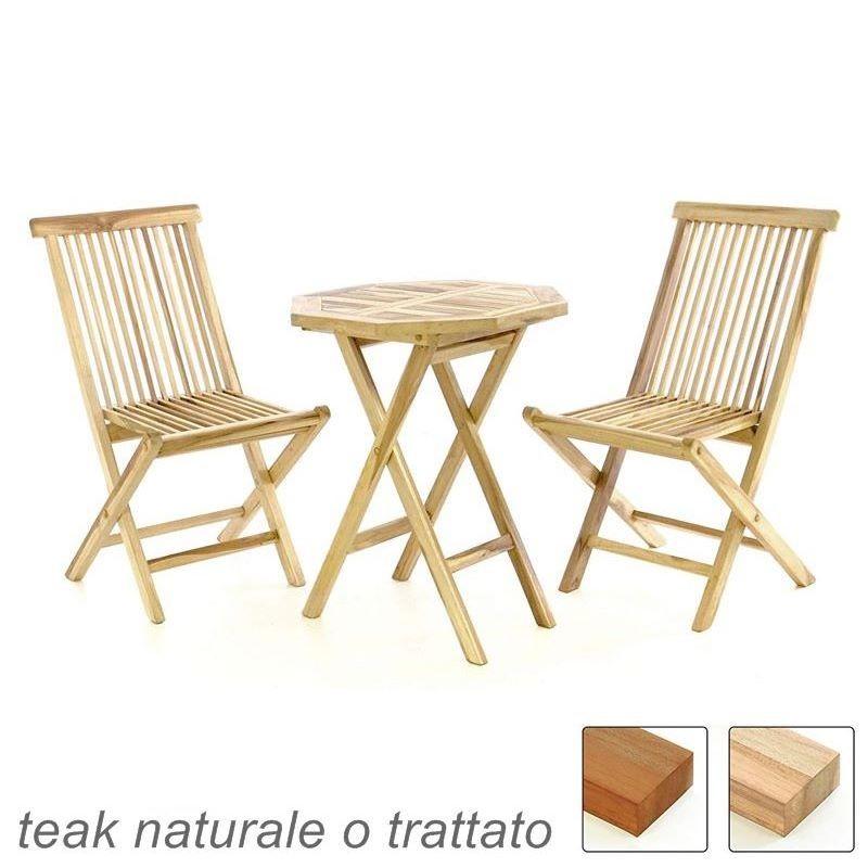 Sedie Legno Da Esterno.Tavolo E Sedie In Legno Di Teak Da Esterno Per Giardino E Balcone