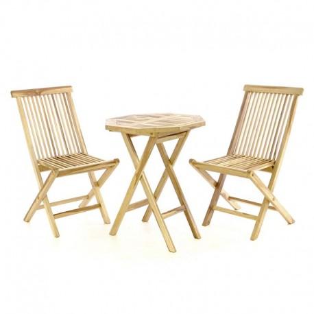Tavolo e sedie in legno di teak da esterno per giardino e balcone