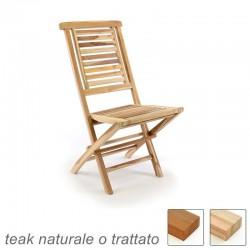Sedie da giardino pieghevoli in legno teak