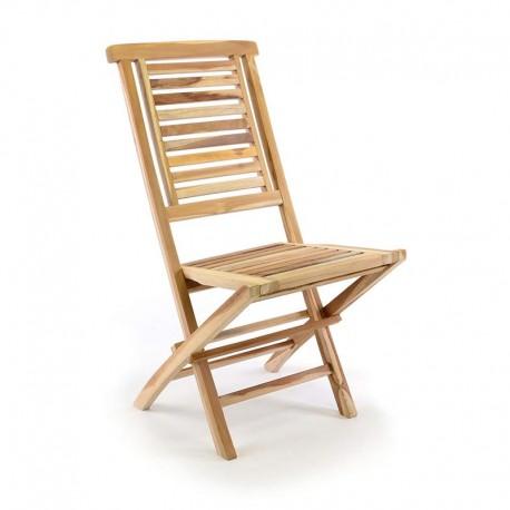 Sedie da giardino pieghevoli in legno teak naturale