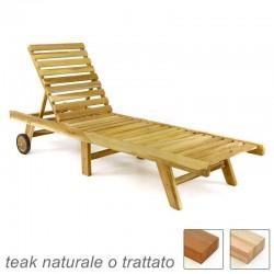 Lettino prendisole pieghevole in legno teak da giardino