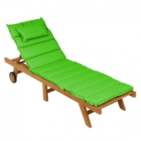 Lettino prendisole da giardino in legno di teak con cuscino