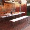Tavolo con panche richiudibili da esterno per giardino o campeggio