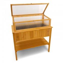 Mobiletto da esterno in legno con serra per orto rialzato