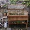 Mobiletto da giardino in legno con serra per orto rialzato