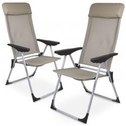 Sedia da giardino pieghevole in alluminio e textilene beige