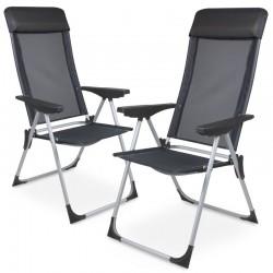Sedia da giardino pieghevole in alluminio e textilene antracite