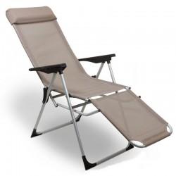 Sedia sdraio pieghevole da giardino in alluminio beige