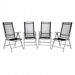 Set 4 sedie da giardino pieghevoli in alluminio grigio/nero
