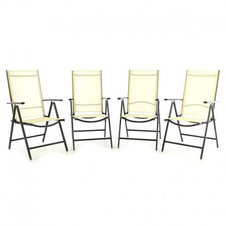 Set 4 sedie da giardino pieghevoli in alluminio antracite/crema