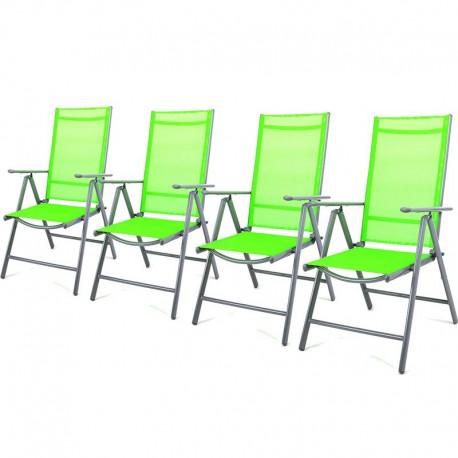 Set 4 sedie da giardino pieghevoli in alluminio grigio/verde