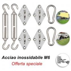 Set accessori montaggio per vele ombreggianti in acciaio inox M6