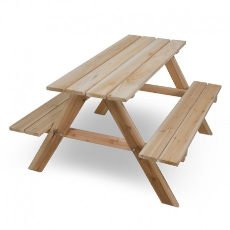 Tavolo e panchine in legno per bambini da giardino