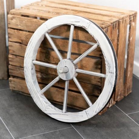 Ruota da carro decorativa in legno shabby chic da 45 cm.