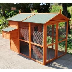 Pollaio in legno a casetta per galline ovaiole