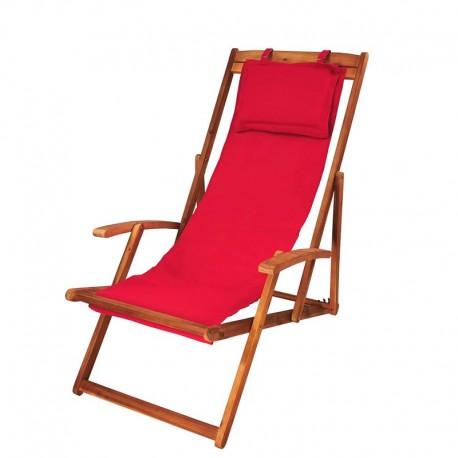 Sdraio da giardino pieghevole in legno e tessuto rosso
