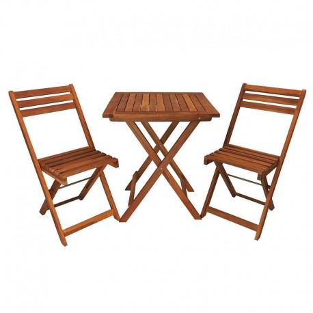 Set tavolo e 2 sedie in legno pieghevoli per bistrot, bar, balcone o giardino