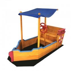 Sabbiera in legno per bambini a forma di barca con tetto