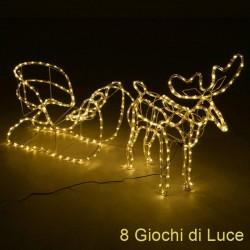 Renna luminosa natalizia e slitta con 504 luci led bianco caldo