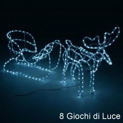Renna luminosa natalizia e slitta con 504 luci led bianco freddo