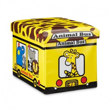 Pouf contenitore portagiochi in ecopelle per bambini