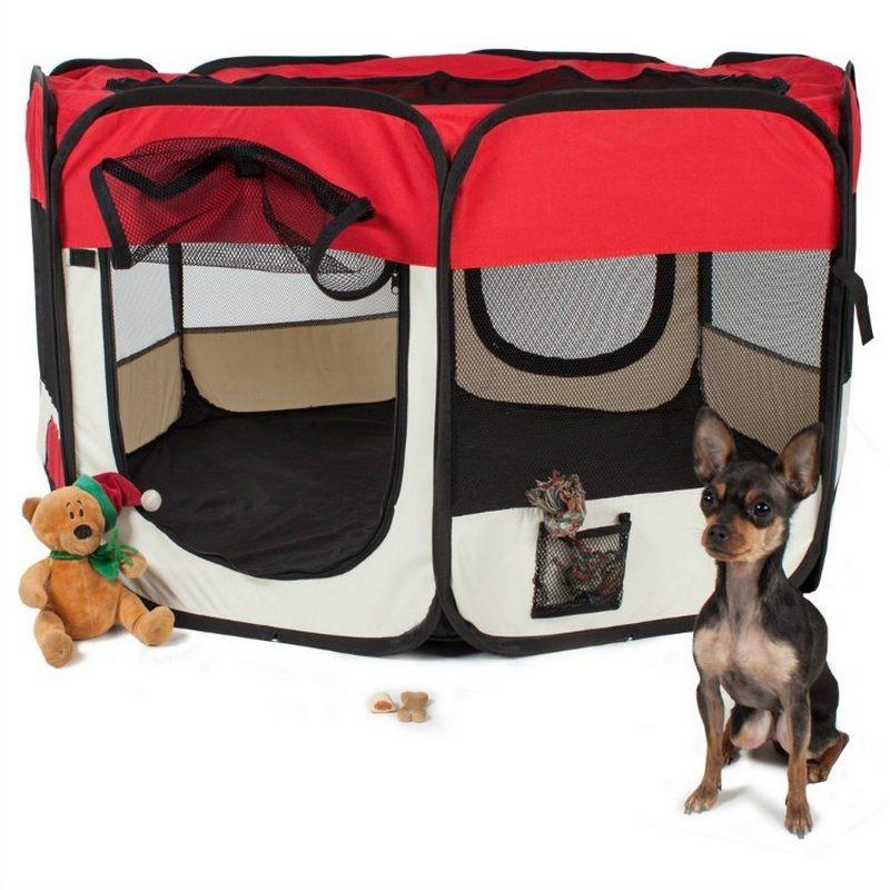 Recinto per cuccioli e cani da interno pieghevole colore rosso - Recinto mobile per cani ...