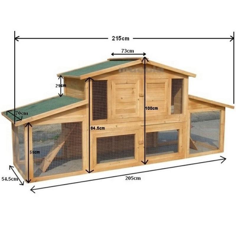 Conigliera in legno da esterno a due piani con recinto e for Piani patio esterno