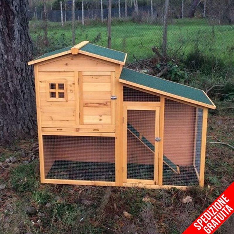 Conigliera da esterno in legno con recinto e casetta per for Animali da giardino