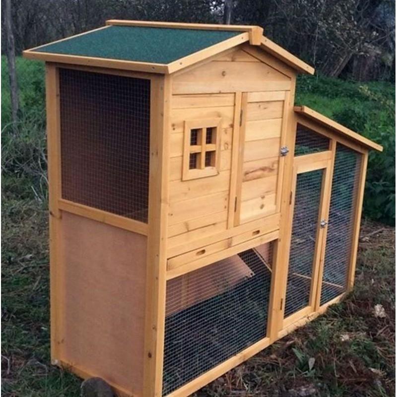 Conigliera da esterno in legno con recinto e casetta per - Casetta per conigli ...