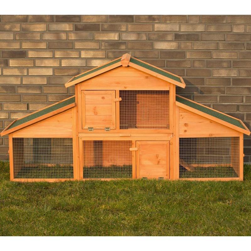 Conigliera da esterno in legno con recinto per giardino for Cancelletto per cani da esterno