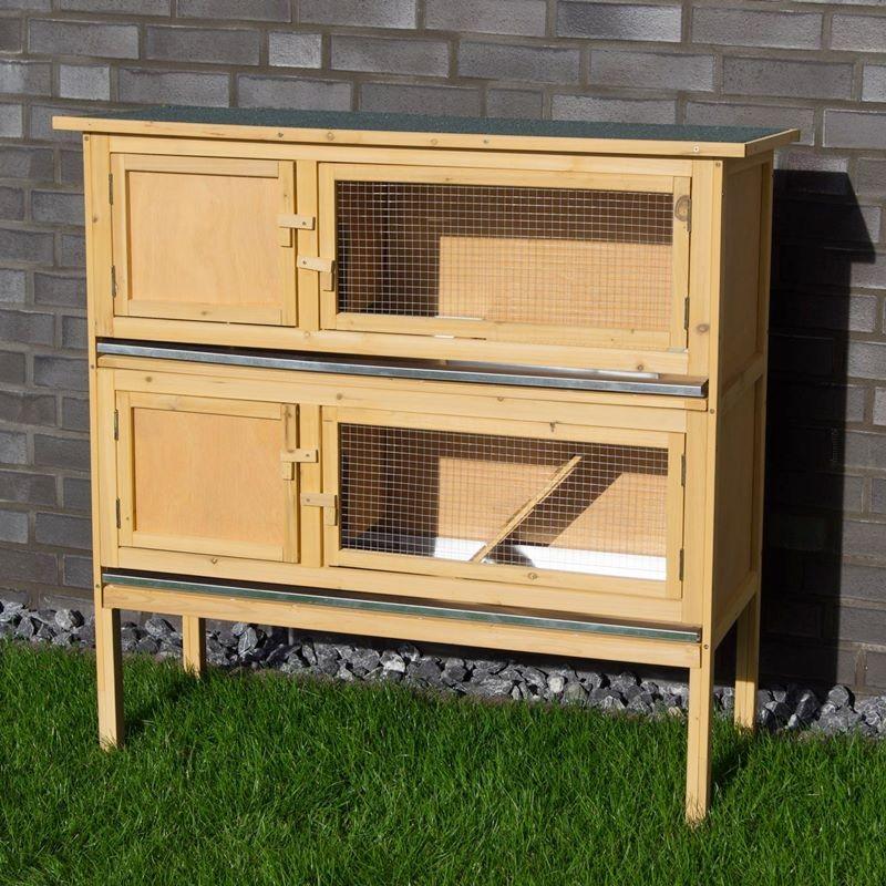 Conigliera in legno con 2 gabbie per conigli nani o cavie for Conigliera in legno