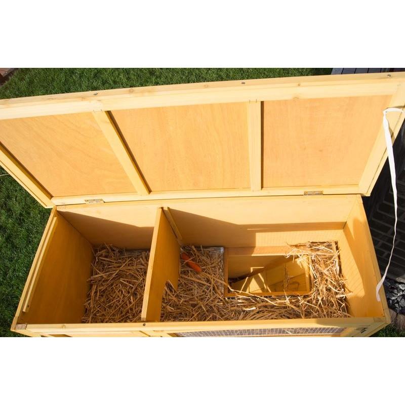 Conigliera in legno con 2 gabbie per conigli nani o cavie for Narratore e interno o esterno