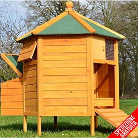 Pollaio per galline ovaiole a casetta in legno