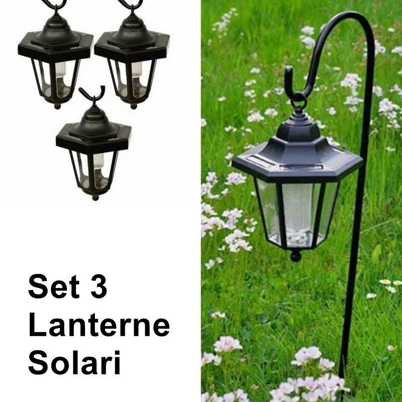 Lanterne da esterno e giardino a energia solare set 3 pezzi for Lanterne arredo