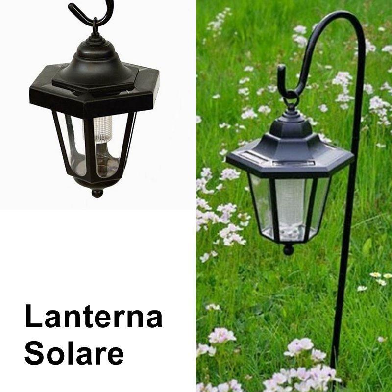 Lanterne da giardino led a energia solare con asta di supporto - Lanterne esterno ...