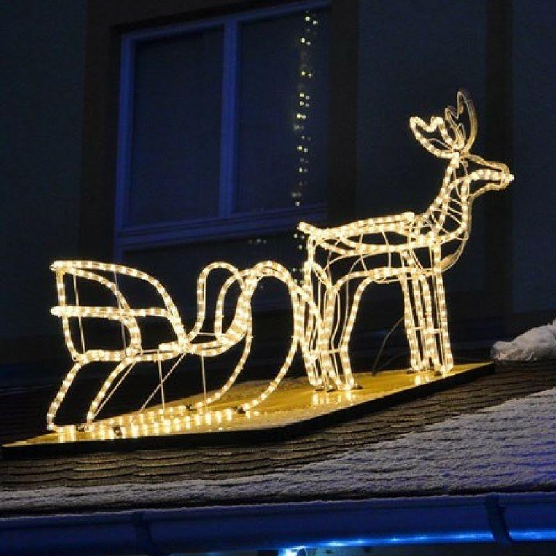 Renna luminosa natalizia con slitta da esterno o interno - Renna natalizia luminosa per giardino ...