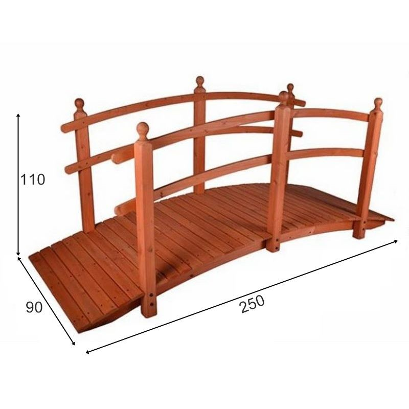 Favoloso Ponte in legno per giardino e laghetto artificiale lunghezza 250 cm. YE57
