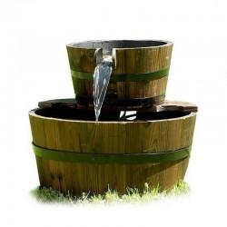 Fontana in legno da giardino modello barili