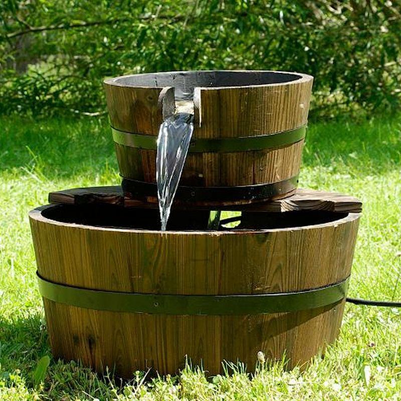 Fontana in legno da giardino modello barili inclusa pompa for Pompa con filtro per laghetto da giardino