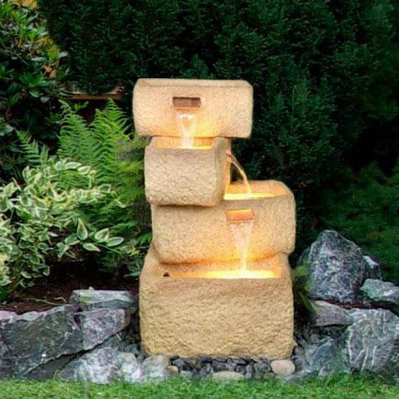 Fontana da giardino con luci modello natura inclusa pompa acqua - Accessori per fontane da giardino ...