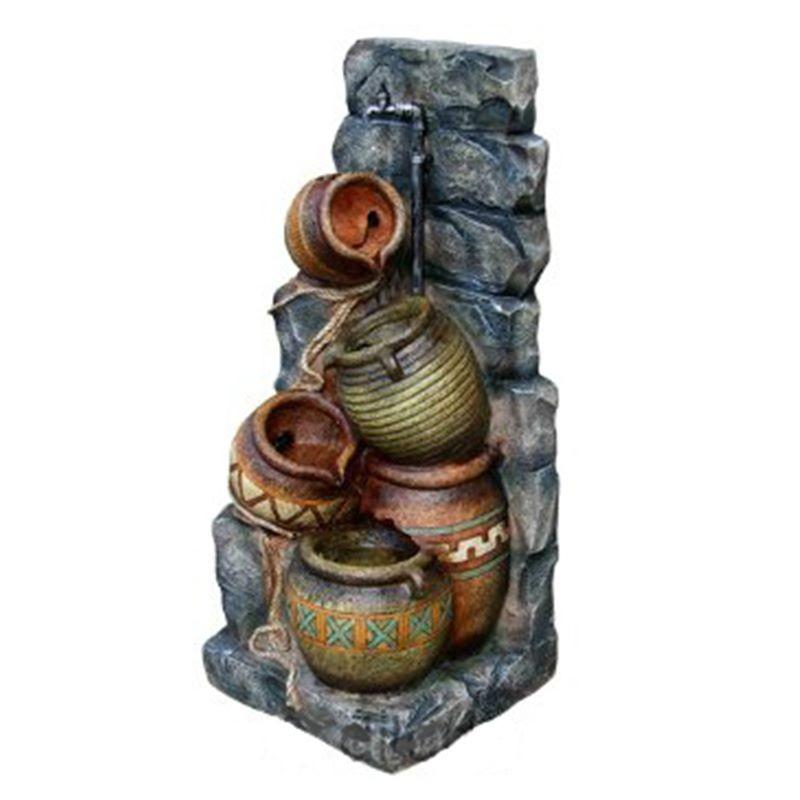 Piante Artificiali Da Esterno : Fontana da giardino con luci modello brocche inclusa pompa