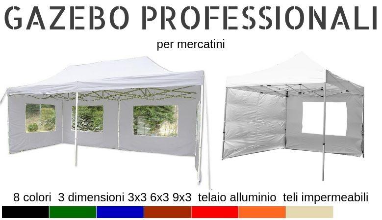 Gazebo pieghevole in alluminio per fiere e mercatini